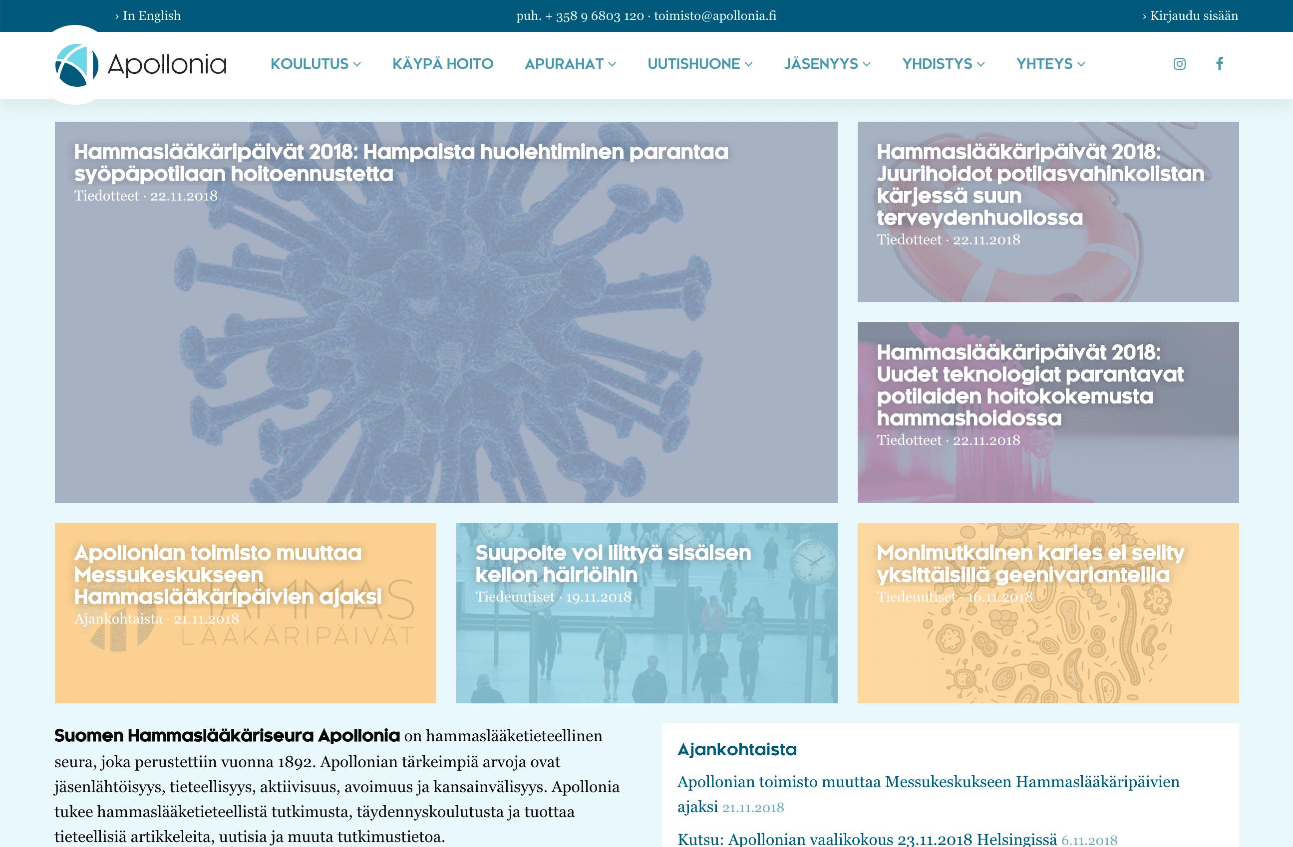 Apollonia- ja Hammaslääkäripäivät-verkkosivustot