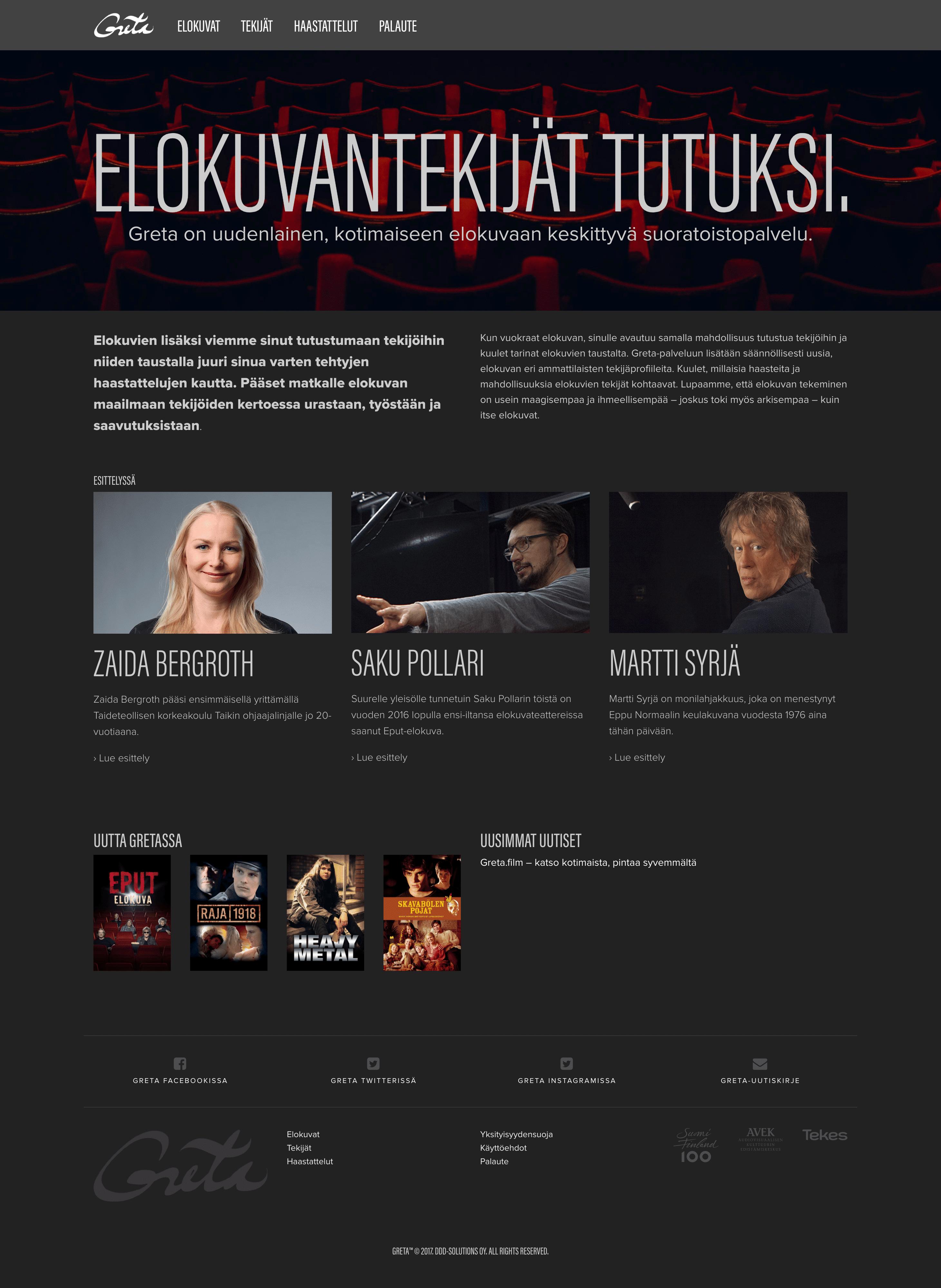 Greta.film -WWW-sivuston etusivu