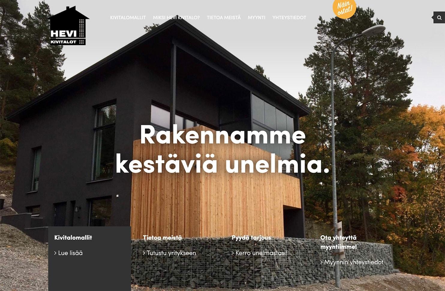 HEVI Kivitalot – talotehtaan tyylikkäät verkkosivut