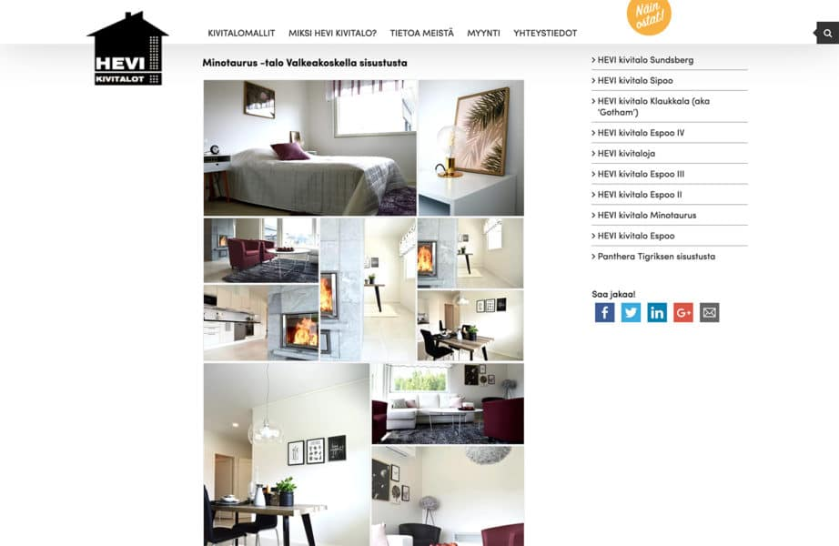 HEVI Kivitalojen nettisivut