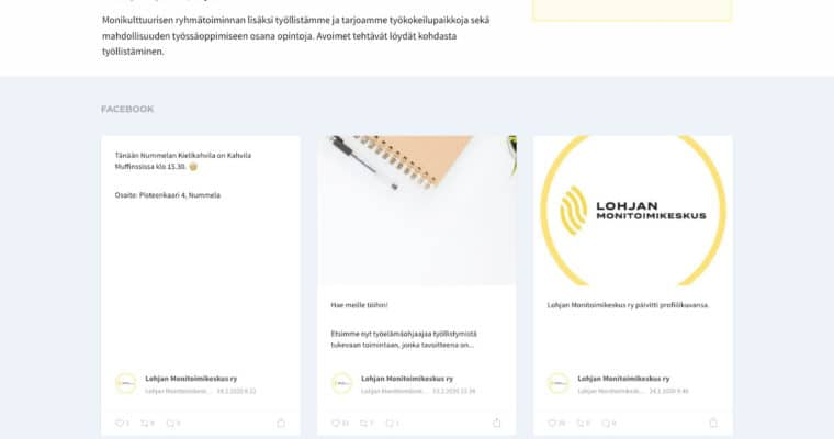 Lohjan monitoimikeskus - verkkosivut